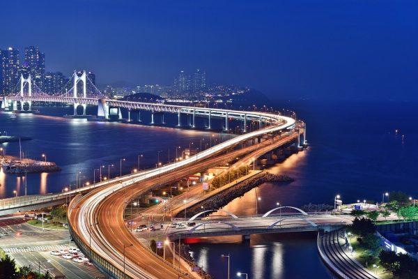 busan night scene, bridge, busan
